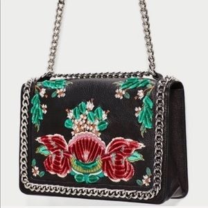 BRAND NEW Zara Embroidered Leather CrossBody Bag
